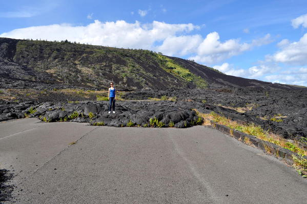 Lava covering Chain of Craters Road, Volcanoes National Park, Hawaii