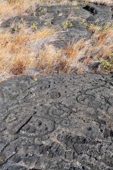 Ancient Puuloa Petroglyphs, Volcanoes National Park, Hawaii