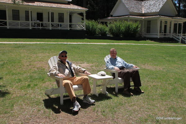 Friends Wayne Houser (L) and Neil McAleer (R) relaxing at the Wawona Hotel, Yosemite National Park