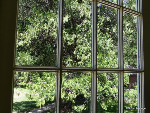 Looking through the window of the Wawona Hotel's dining room