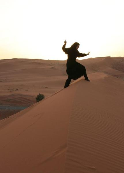 Saudi Arabia Riyadh. Conquering the sands in an abaya