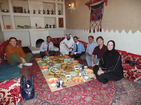 Saudi Arabia Riyadh Meals. Traditional restaurant: floor seating and eating with your hands.