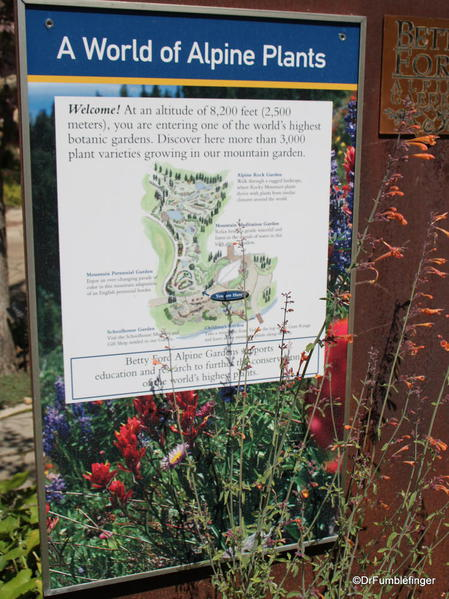 Layout of the Betty Ford Alpine Garden, Vail