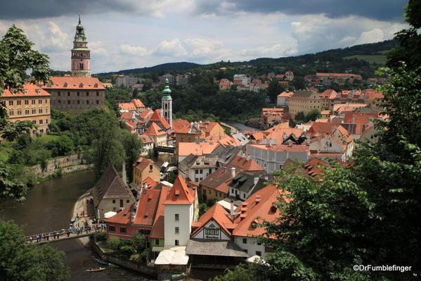 Cesky Krumlov. Town overview including castle and River Vltava