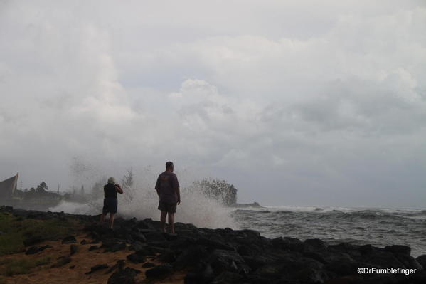 Hurricane Ana approaches Kauai's southern shore near Kekaha. Note the spray over the breakwater