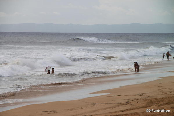 Hurricane Ana approaches Kauai's southern shore near Kekaha. Surfers enjoyed the wave swells