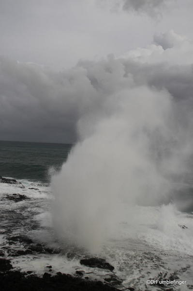 Hurricane Ana surges made the Spouting Horn (a blowhole) especially dramatic