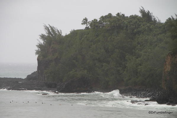 Tropical storm conditions existed with rains and strong surf. Kalihiwai