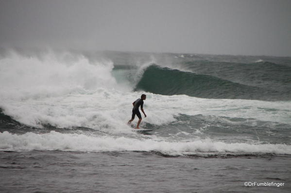 The tropical storm didn't slow down the surfers, who were in their element