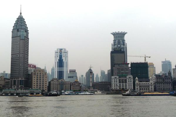 Ever changing landscape on the bank of Huangpu River, Shanghai