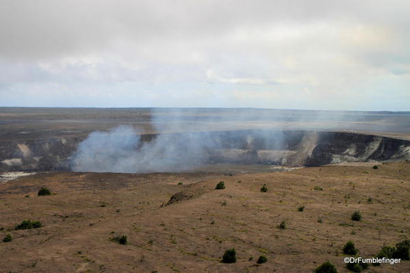 Volcanoes National Park. Smoke rises from the Halema'uma'u crater within the Kilauea Crater