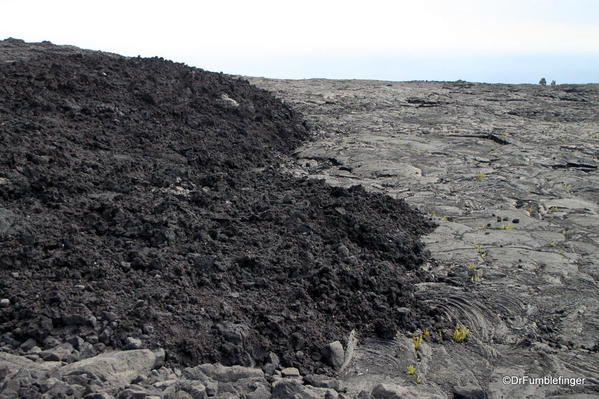 Volcanoes National Park. Old lava flows adjoin the Chain of Craters Road