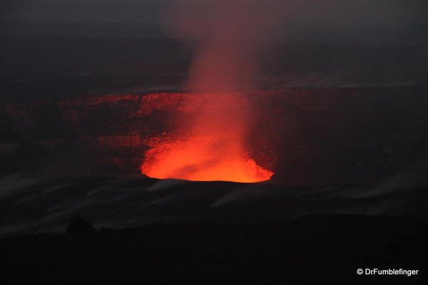 Volcanoes National Park. Glow of molten lava from Halema'uma Crater. Visible only after dusk.