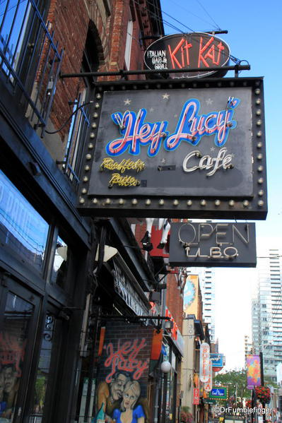 Some of the restaurants and clubs of King Street, Toronto