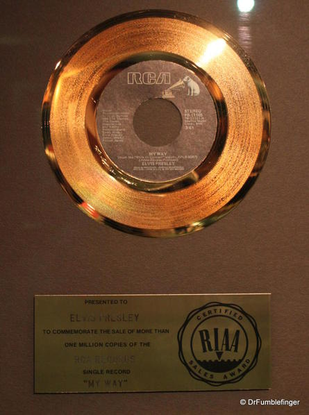 Graceland, Memphis. Trophy room. One of many gold records in the Hall of Gold
