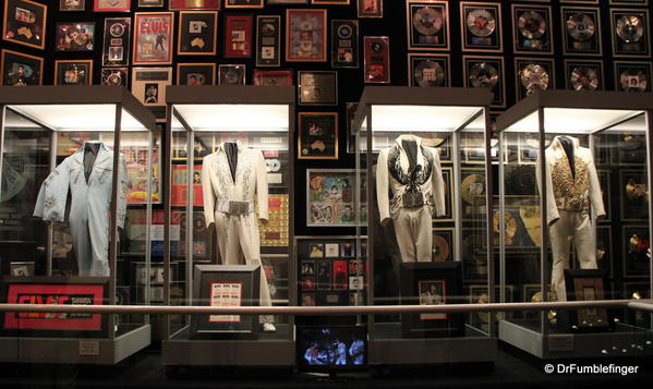 Graceland, Memphis. Elvis' racquetball court, 1970s jumpsuits and awards