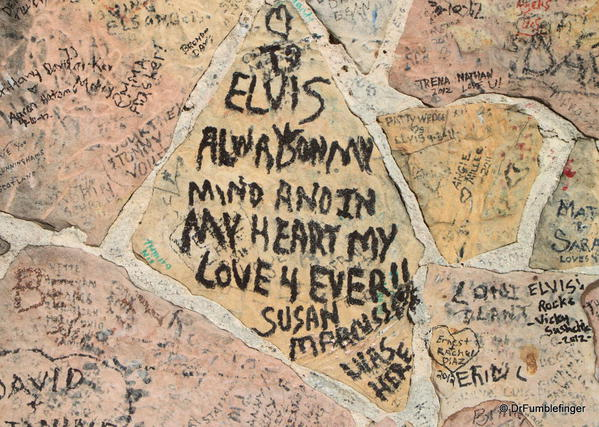 Graceland, Memphis. graffiti on the walls along Elvis Presley Blvd