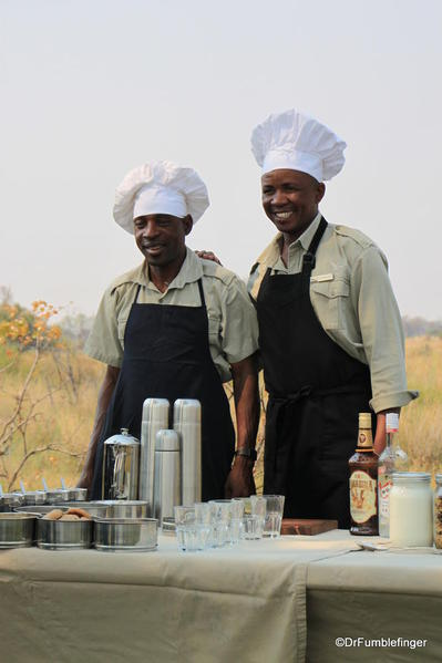 Breakfast on the Okavango Delta. Our guide and driver are our chefs!