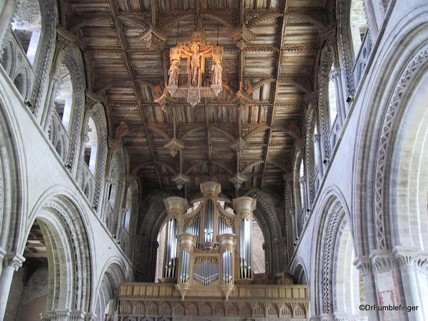 Roof of the nave and organ pipes, St. David Cathedral, Wales
