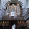 Organ pipes and choir loft, St. David Cathedral, Wales