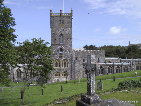 St. David Cathedral, Wales. West end, tower, nave and cemetery