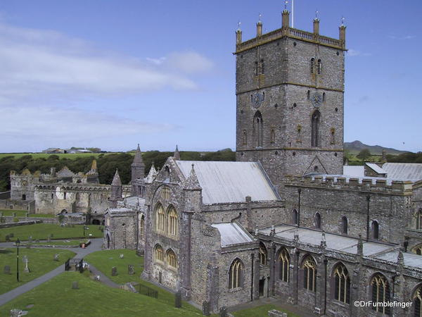 St. David Cathedral, Wales. Ruins of the Bishop's house in the background