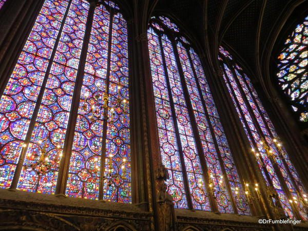 The long stained-glass windows of Sainte-Chapelle