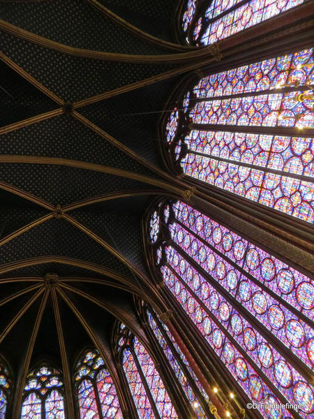 The roof and long stained-glass windows of Sainte-Chapelle