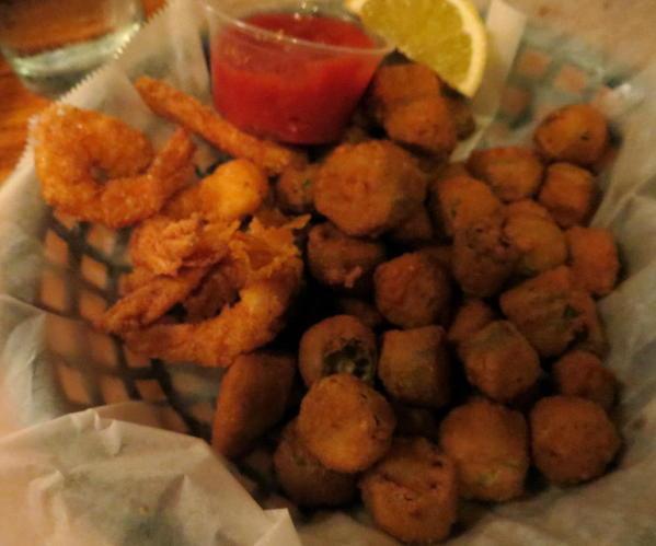 Jestine's Restaurant, Charleston, South Carolina. Fried Okra and shrimp