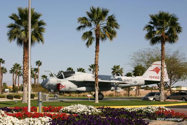 Entry to the Palm Springs Air Museum. Grumman A-6E Intrude aircraft