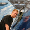 Palm Springs Air Museum.  Our sons' friend, John, studying the cockpit of an aircraft
