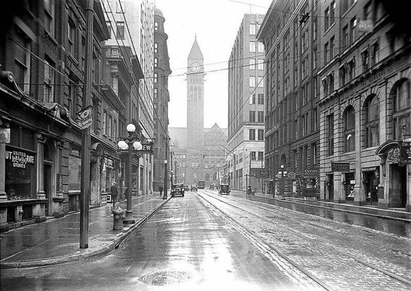 Old City Hall viewed from Bay Street. Toronto, 1929