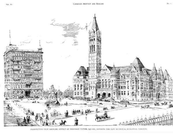 Plans for proposed Victoria Square, with Old City Hall to the right.