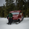 1950s Bombadier snow coach, still used for winter access to Yellowstone National Park