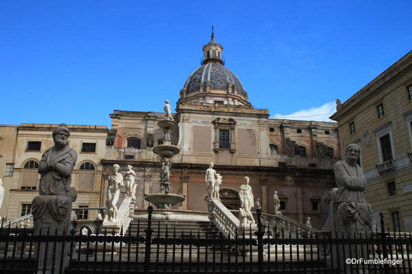 Fontana Pretoria, a 16th century fountain in the Quattro Canti (and one of Palermo's best known landmarks)