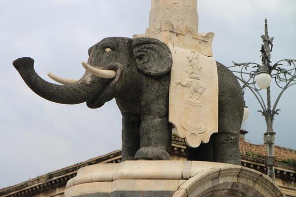 The famous elephant fountain in Catania