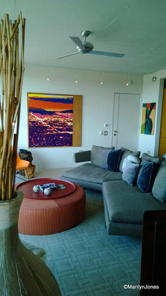 Hotel Valley Ho room interior carries out the hotel's mid-century modern style