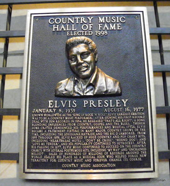 Nashville Country Music Hall of Fame. Elvis plaque