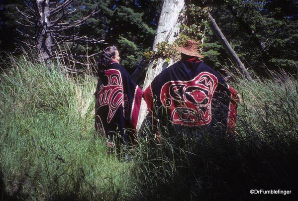 Louise Island, Haida Gwaii, Skedans Village Eagle Mortuary Pole and Guardians
