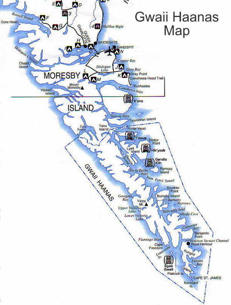 Other sites with totem poles on Haida Gwaii