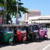 Tuktuks lined up by the Galle Railway Station