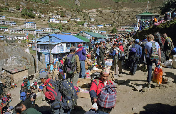 Namche Market. Courtesy Wikimedia and Kogo.