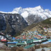 Namche Bazaar and Mt Kungde.  Courtesy Wikimedia and Gaurab