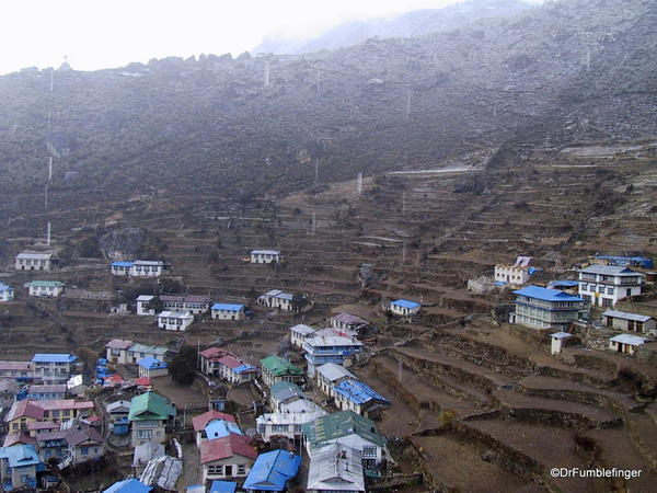 Namche Bazaar. Town in the mist