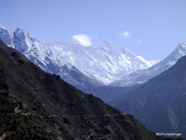 View of Mount Everest, Lhotse and Nuptse, from ridge above Namche Bazaar