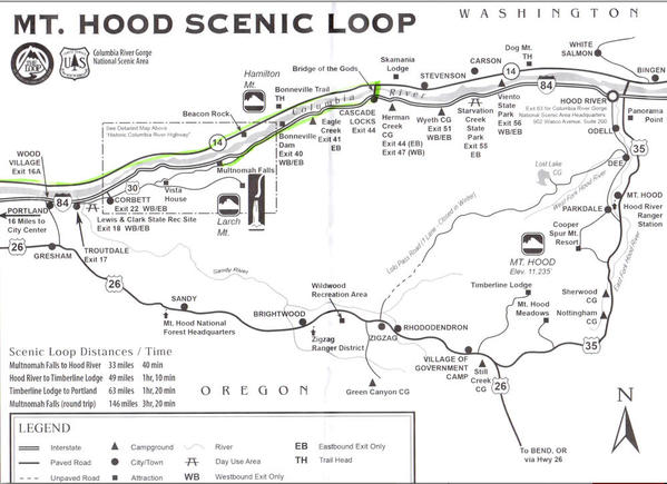 Mt. Hood Scenic Route Map