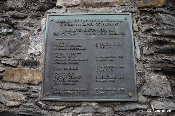 Commerative plaque, Kilmainham Gaol, Dublin
