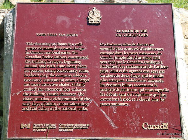 Twin Falls Chalet plaque