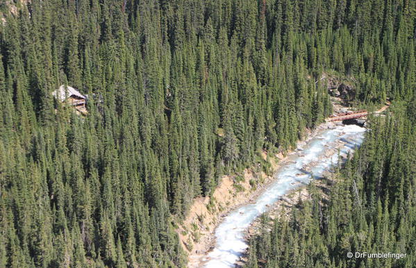 Views of Twin Falls Chalet and creek