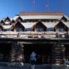 Entry to Old Faithful Inn, Yellowstone National Park